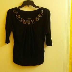 WHBM Embellished Blouse with Sheer Sleeves